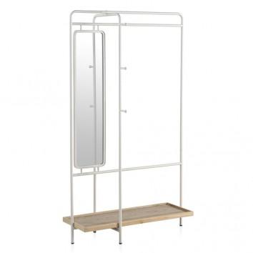 Mueble perchero-vestidor hierro y madera 100x54x167h