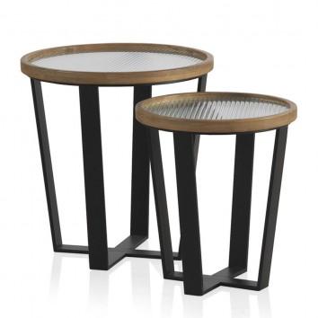 Set 2 mesas auxiliares 40 y 50cm superficie cristal