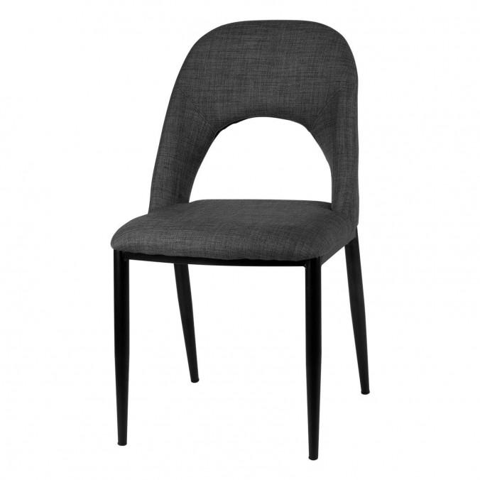 Silla ANIKA tapizado gris oscuro y patas metal negro