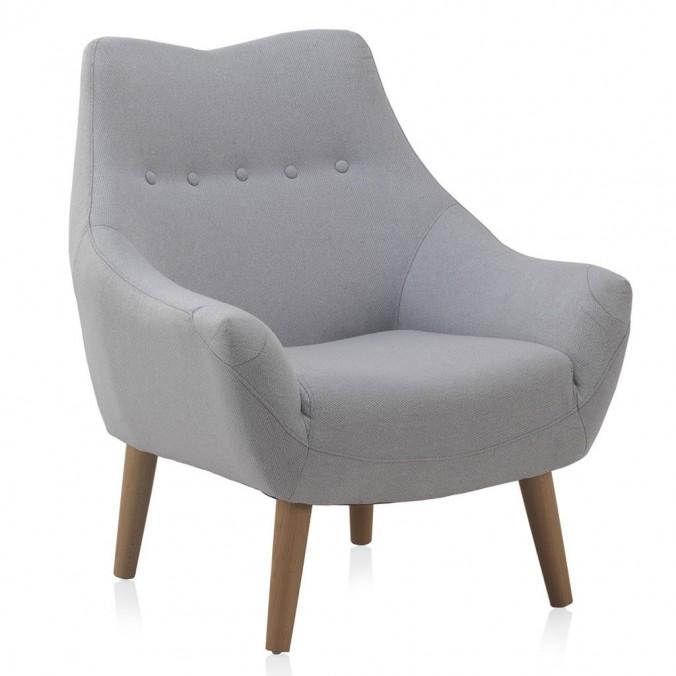 Sillón estilo vintage tapizado gris 76x65x86h