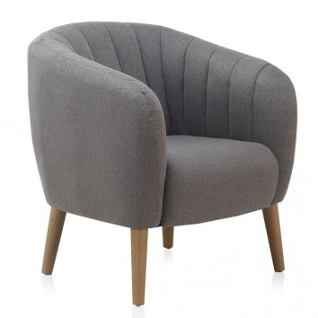 Sillón estilo vintage tapizado gris 77x75x84h