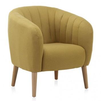 Sillón estilo vintage tapizado mostaza 77x75x84h