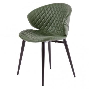 Silla diseño vintage acolchado verde - 59x48x76h