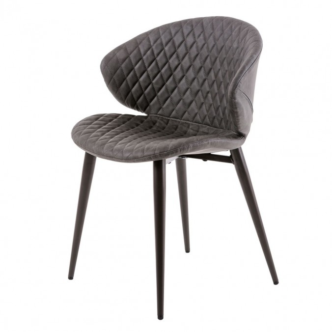 Silla diseño vintage acolchado gris - 59x48x76h