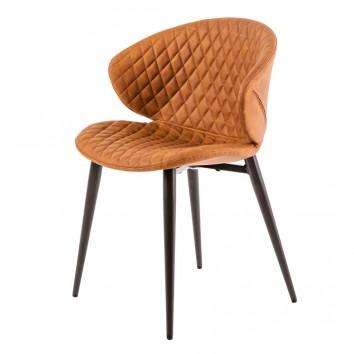 Silla diseño vintage acolchado marrón - 59x48x76h
