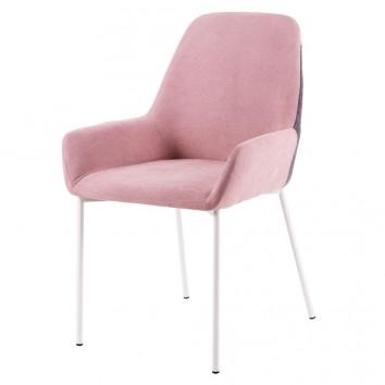 Silla diseño con tapizado rosa-gris 58x58x89h