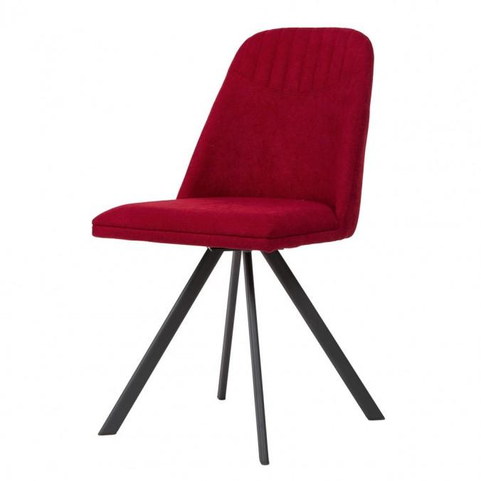 Silla giratoria color rojo tapizada en tela