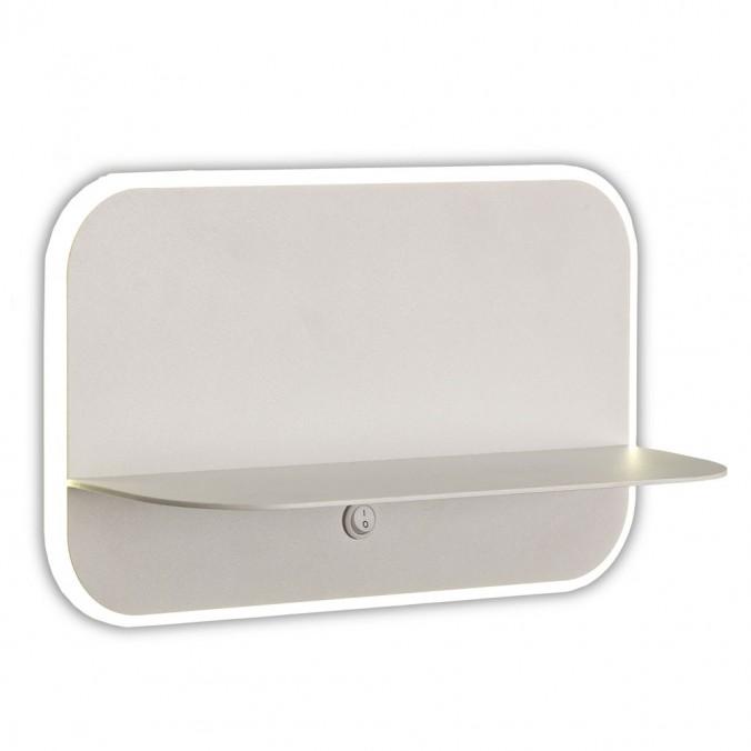 Aplique pared blanco LED con repisa y USB