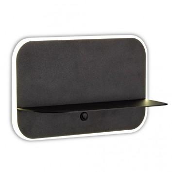 Aplique pared negro LED con repisa y USB