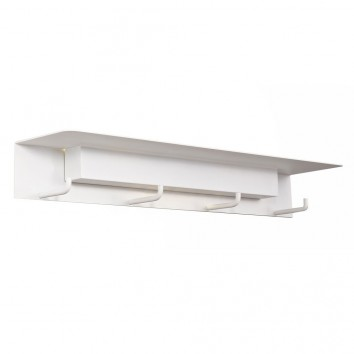 Aplique de pared-percha blanco con luz LED y repisa