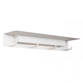 Aplique de pared-percha blanco con luz LED y repisa