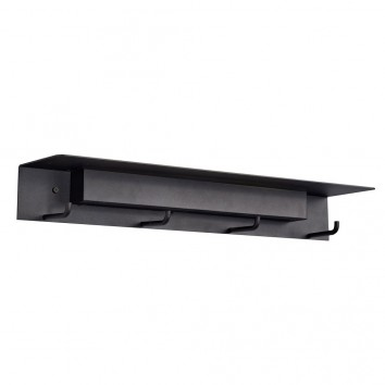 Aplique de pared-percha negro con luz LED y repisa