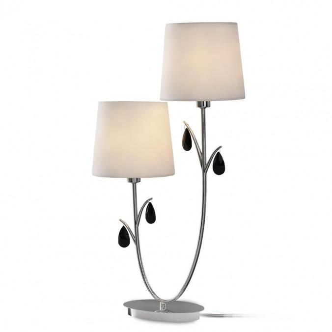 Lámpara de mesa estilo clásico cromo 2 luces