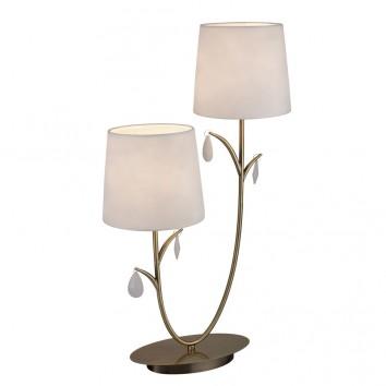 Lámpara de mesa estilo clásico dorado 2 luces