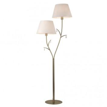 Lámpara de pie estilo clásico dorado 2 luces