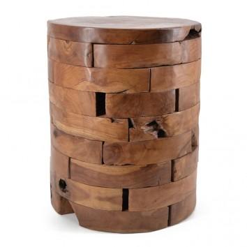 Taburete madera teca estilo étnico - 35x35x45h