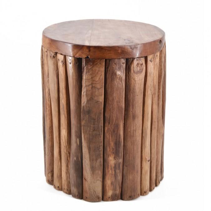 Taburete madera teca vertical - 35x35x45h