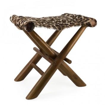 Taburete plegable leopardo - 48x40x45h