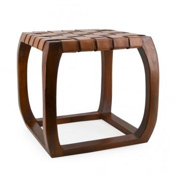 Taburete de teca asiento piel trenzada - 45x45x45h