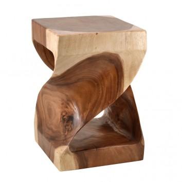 Taburete estilo étnico madera curva - 30x30x45h