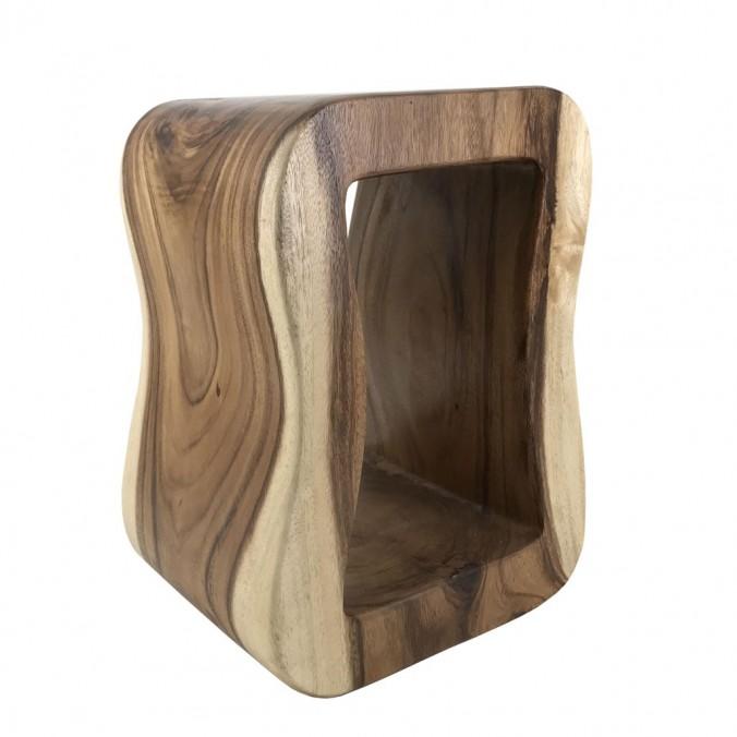 Taburete estilo étnico madera rectangular - 30x30x45h