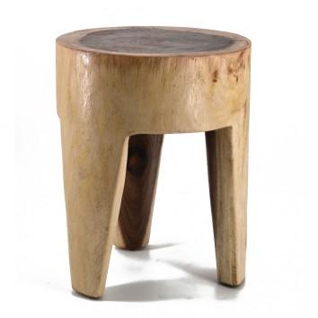 Taburete redondo estilo étnico madera suar - 35x35x45h