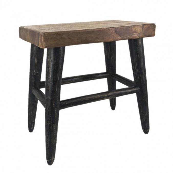 Taburete estilo rústico madera de teca - 45x27x45h