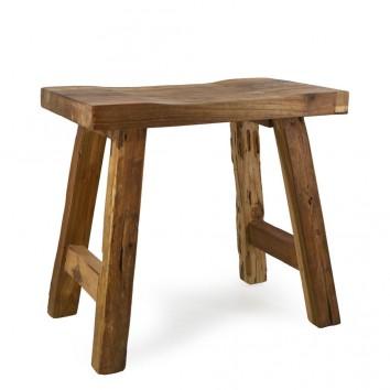 Taburete rústico madera de teca natural - 52x32x48h