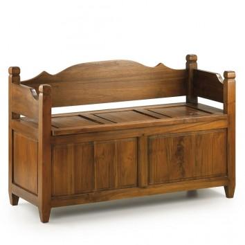 Banco con baúl estilo rústico madera natural - 110x45x70h