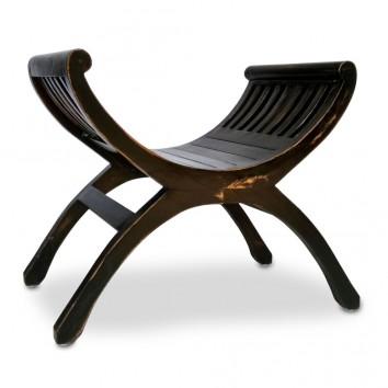 Banqueta estilo provenzal madera tono negro - 62x35x60h