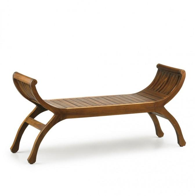 Banco estilo provenzal madera natural oscuro - 120x37x60h