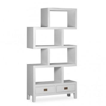 Libreria con dos cajones madera mindi blanco 100x35x190h