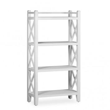 Libreria de pie 5 baldas madera mindi blanco 80x35x150h