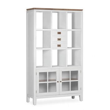Libreria con vitrina madera mindi blanco 110x40x190h