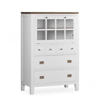 Aparador puerta abatible madera mindi blanco 90x45x135h