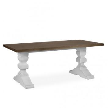 Mesa de comedor madera mindi tono oscuro y blanco 200x100x78h