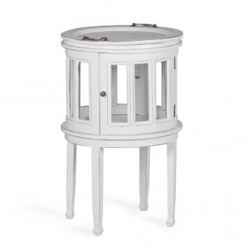 Mesa auxiliar licorera madera mindi tono blanco 50x50x78h