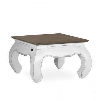 Mesa auxiliar madera mindi tono oscuro y blanco 60x60x40h