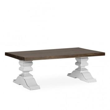Mesa centro madera mindi tono oscuro y blanco 130x70x45h