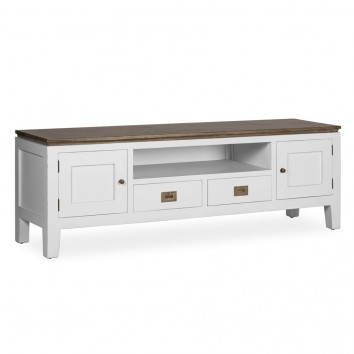 Mueble TV 2 cajones y 2 puertas madera mindi 150x40x50h