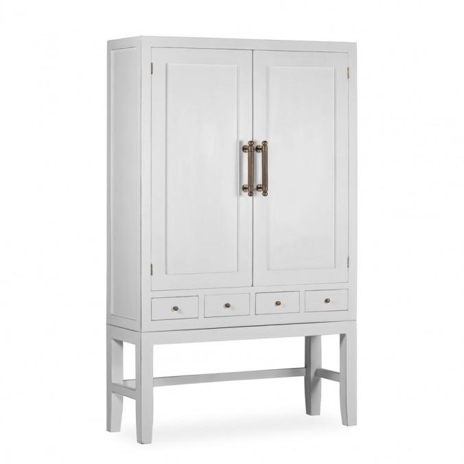 Armario con 4 cajones madera mindi blanco 110x40x180h