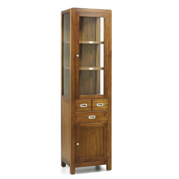 Vitrina de estilo colonial madera mindi 50x40x190h