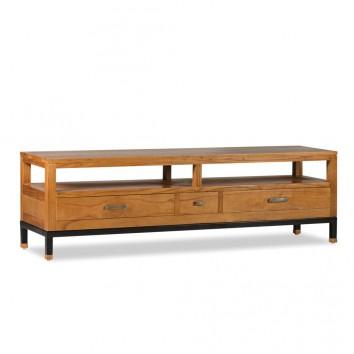 Mueble TV madera de mindi natural claro 150x40x45h