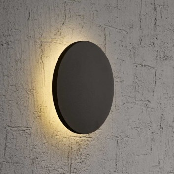 Aplique de pared o techo LED redondo 18cm negro