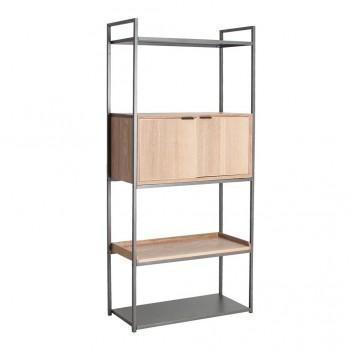 Libreria estilo industrial hierro y madera natural - 84x39x181h
