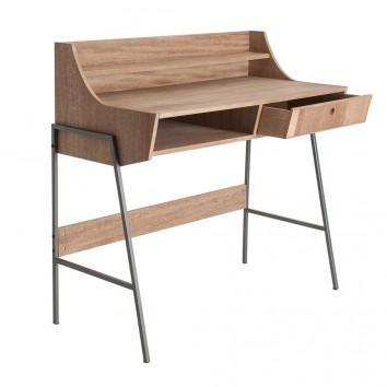 Escritorio estilo industrial hierro y madera natural - 103x48x96h