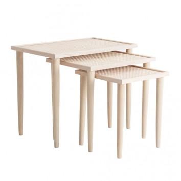 Set 3 mesas auxiliares madera natural estilo vintage