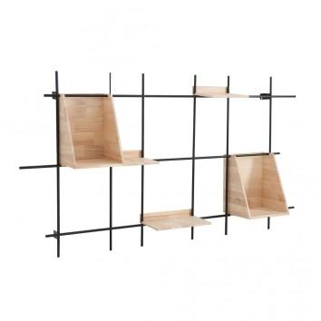 Estantería de pared abeto y hierro  - 140x21x75h
