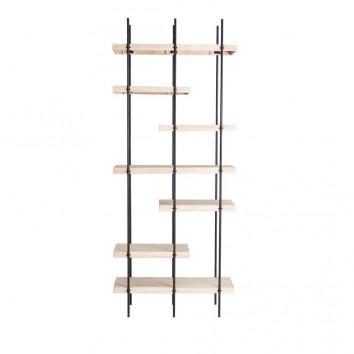 Estantería de pie madera y hierro - 80x32x195h