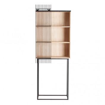 Estanteria de pie madera y hierro - 66x30x180h